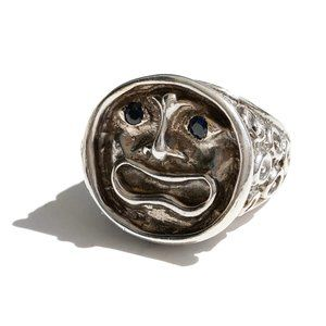 Vintage Sterling Silver Face Ring Sapphire Eyes